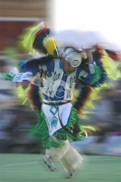 A young dancer showing his skills at North American Indian Days. Browning, Montana 2008